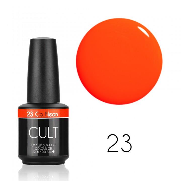 Гель лак для ногтей Cult №23 Go Neon (оранжевый неоновый светящийся)