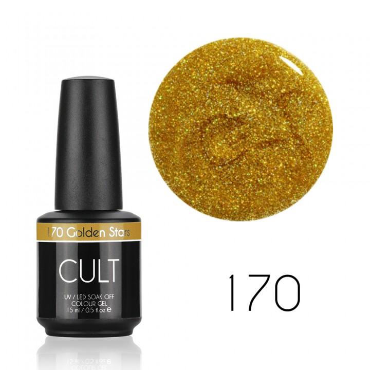 Гель лак для ногтей Cult №170 Golden Stars 15 мл (с золотым голографическим шиммером)