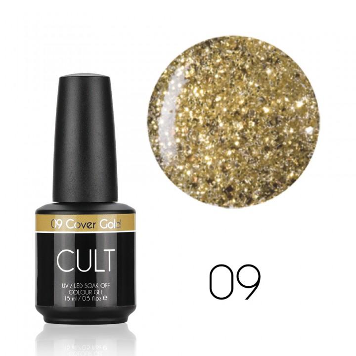 Гель лак для ногтей Cult №09 Golden Cover (с золотыми блёстками)