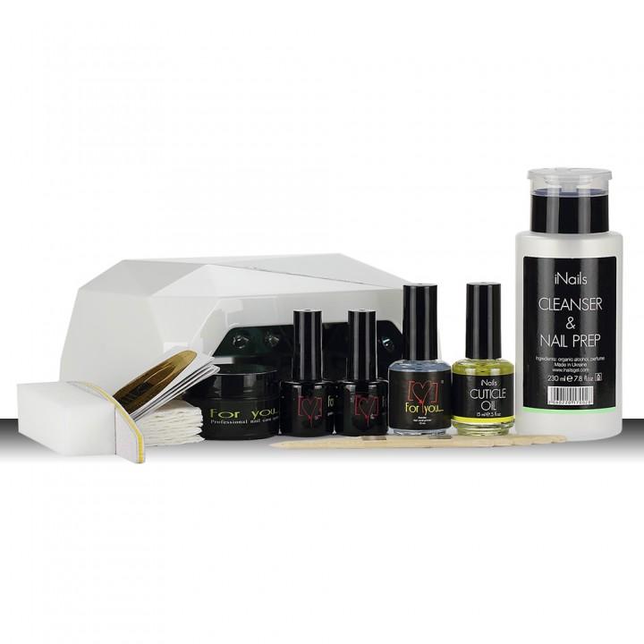 Стартовый набор для наращивания ногтей гелем FOR YOU с UVLED+CCFL лампой 36 Вт