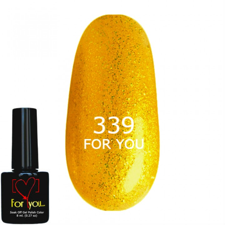 Гель Лак для ногтей FOR YOU Темное Золото, шиммер №339