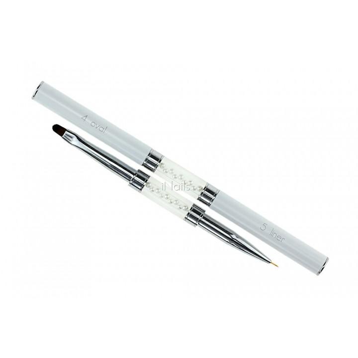 Кисть двухсторонняя для геля и рисования Oval #4 / Liner #5