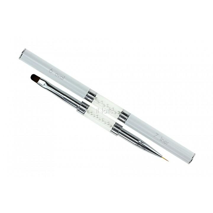 Кисть двухсторонняя для геля и рисования Oval #6 / Liner #7