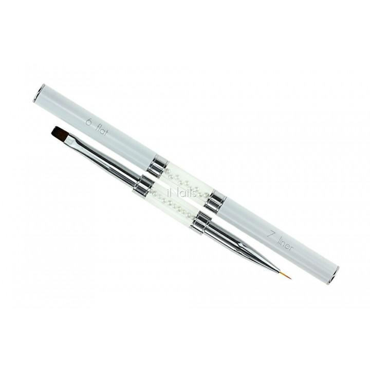 Кисть двухсторонняя для геля и рисования Flat #6 / Liner #7
