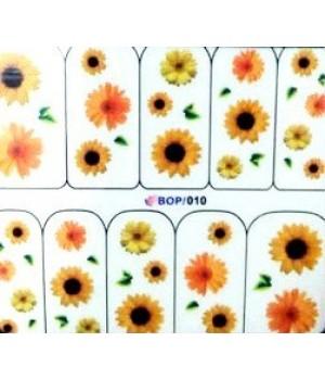 Водные Наклейки, Слайдер дизайн для ногтей Цветы, желтые, оранжевые подсолнухи