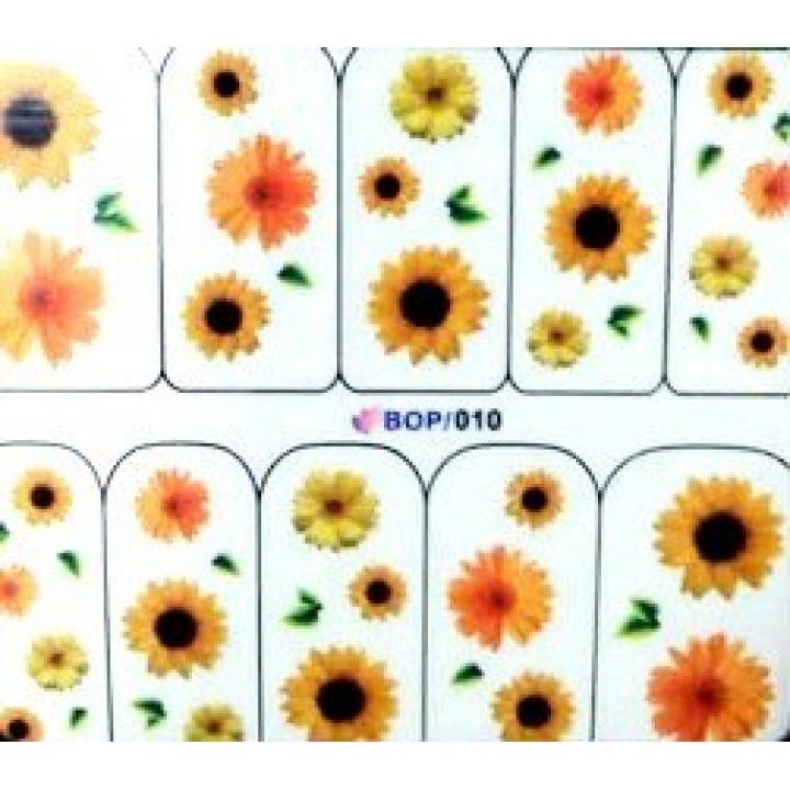 Слайдер дизайн для ногтей, Водные Наклейки Цветы, желтые, оранжевые подсолнухи