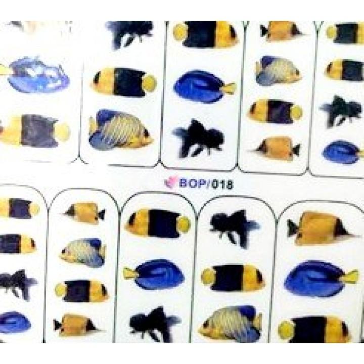 Слайдер дизайн для ногтей, Водные Наклейки Синие морские рыбки