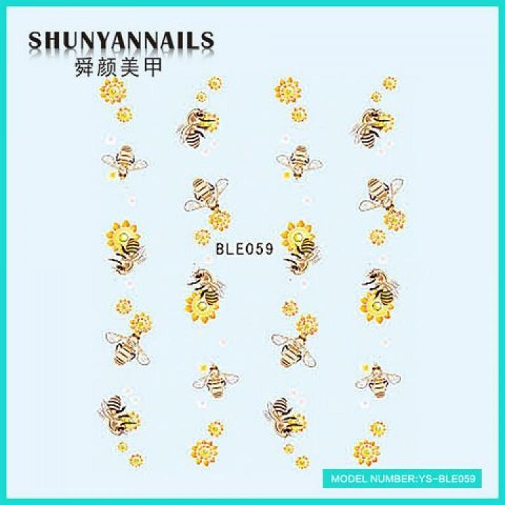 Слайдер дизайн для ногтей, Водные Наклейки Пчелки