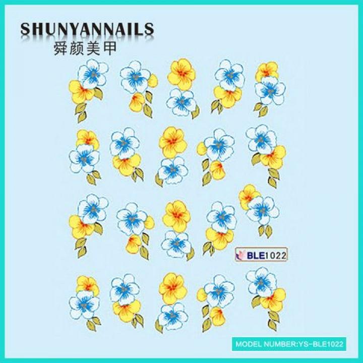 Слайдер дизайн для ногтей, Водные Наклейки Цветы голубые