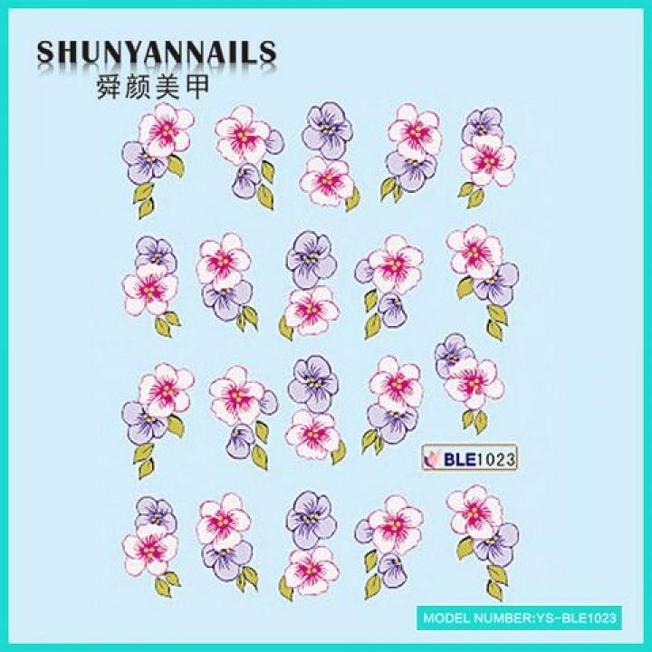 Слайдер дизайн для ногтей, Водные Наклейки Цветы фиолетовые