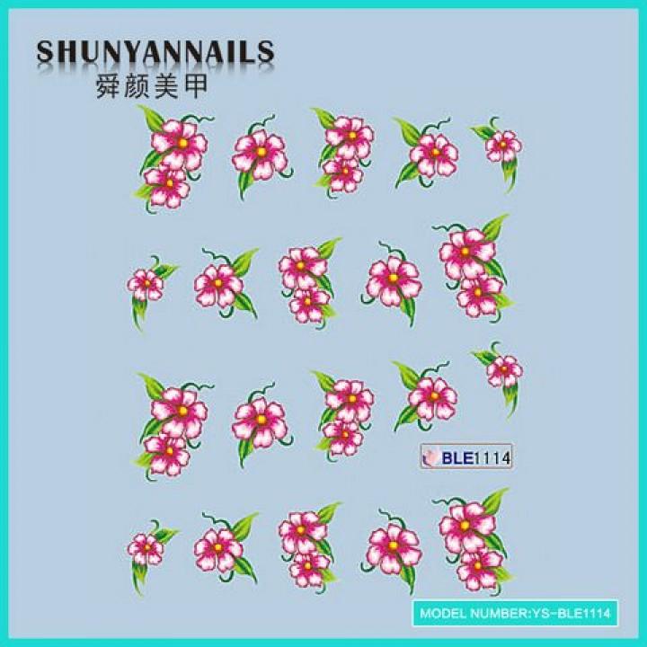 Слайдер дизайн для ногтей, Водные Наклейки Цветы розовые
