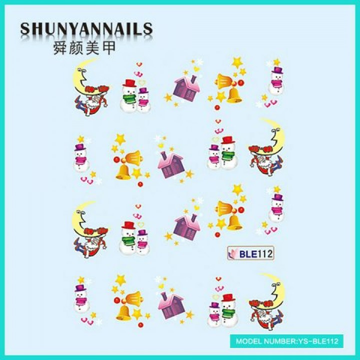 Слайдер дизайн для ногтей, Водные Наклейки Новогодние, снеговики, Санта Клаус, Дед Мороз, колокольчики