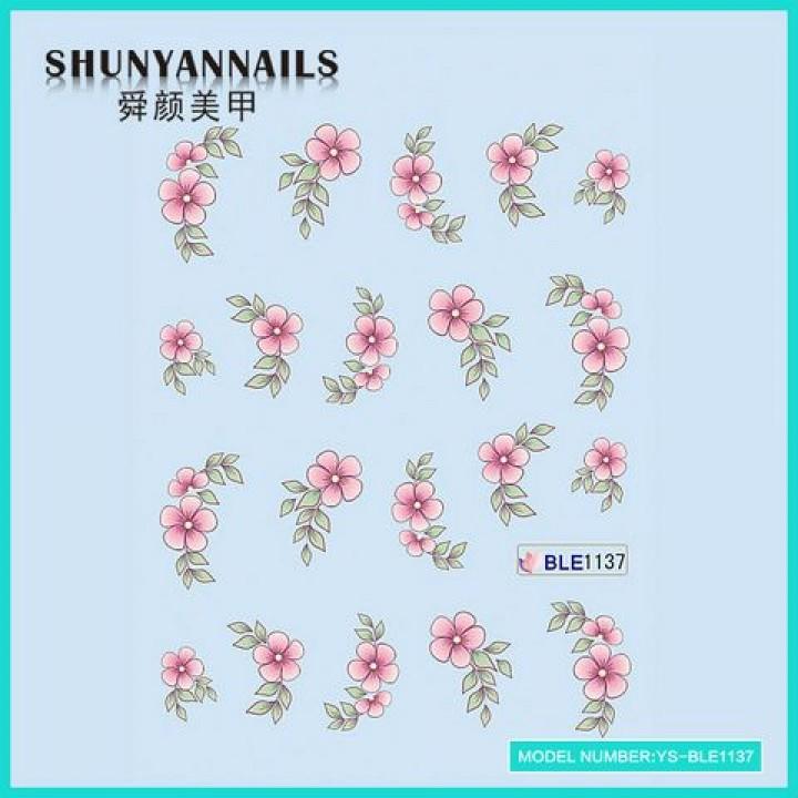 Слайдер дизайн для ногтей, Водные Наклейки Цветы нежно розовые