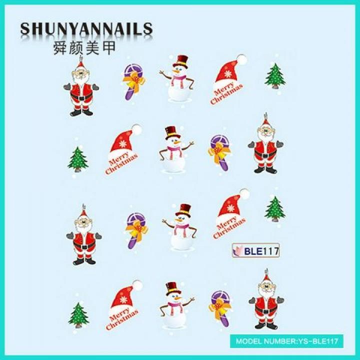 Слайдер дизайн для ногтей, Водные Наклейки Новогодние, Дед Мороз, Санта Клаус, елка