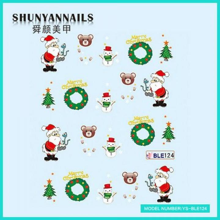 Слайдер дизайн для ногтей, Водные Наклейки Новогодние, Санта Клаус, Дед Мороз, елка, мишка, снеговик