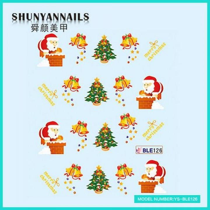 Слайдер дизайн для ногтей, Водные Наклейки Новогодние, Санта Клаус, Дед Мороз, колокольчики, елка