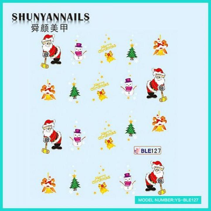 Слайдер дизайн для ногтей, Водные Наклейки Новогодние, Санта Клаус, Дед Мороз, колокольчики, елка, снеговик