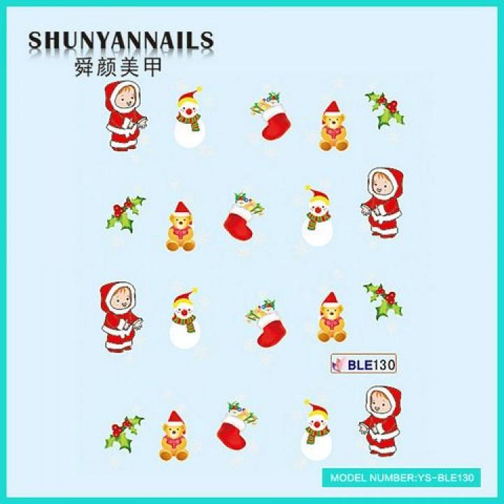 Слайдер дизайн для ногтей, Водные Наклейки Новогодние, снеговик, мишка, чулок для подарков