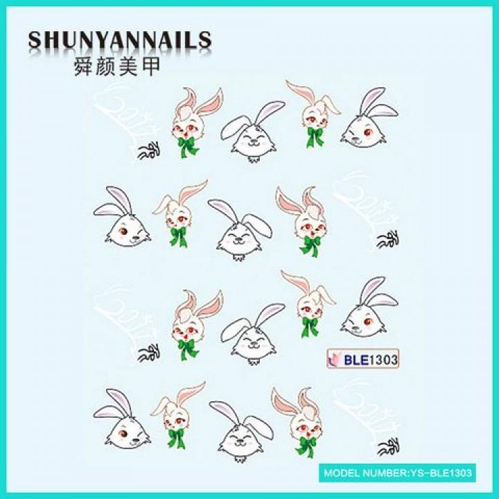 Слайдер дизайн для ногтей, Водные Наклейки Зайчик, кролик с бантиком