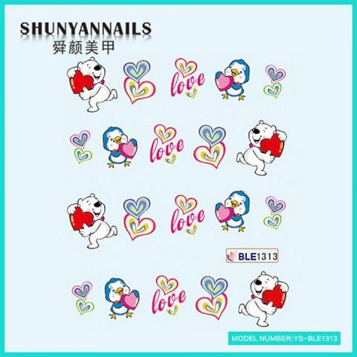 Слайдер дизайн для ногтей, Водные Наклейки День влюбленных, мишка, птичка, сердечки