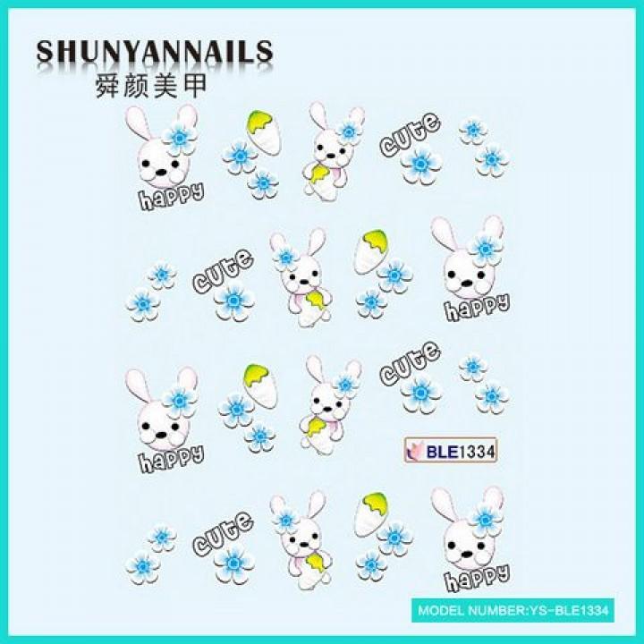 Слайдер дизайн для ногтей, Водные Наклейки Зайчик, кролик, голубые цветы