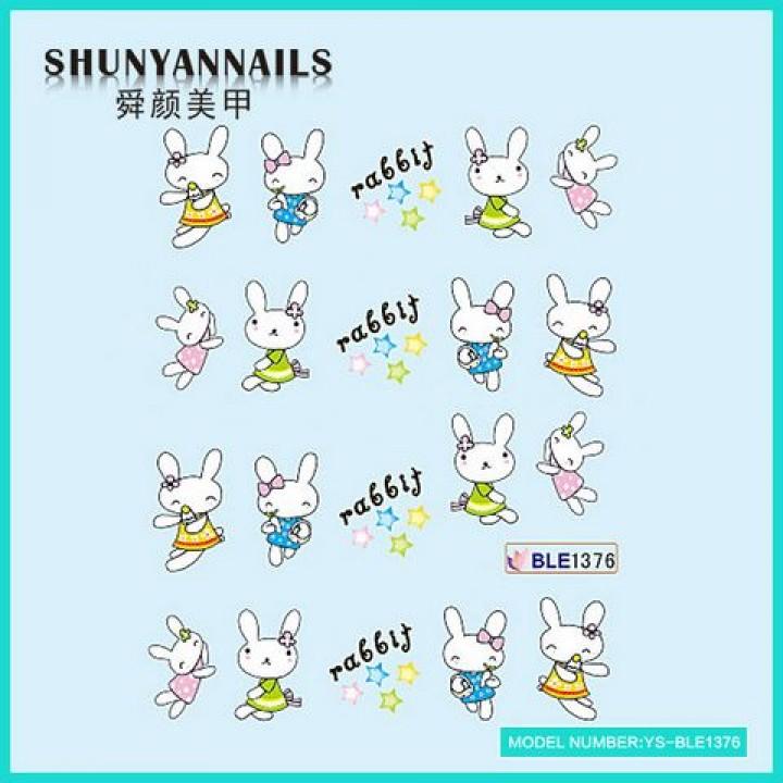 Слайдер дизайн для ногтей, Водные Наклейки Животные, зайчата