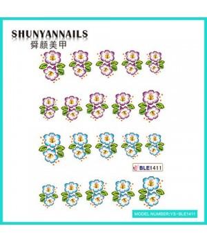 Водные Наклейки, Слайдер дизайн для ногтей Цветочки сиреневые, голубые