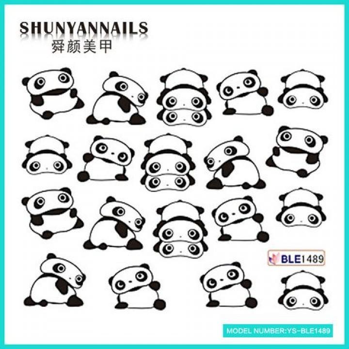 Слайдер дизайн для ногтей, Водные Наклейки Животные, панда