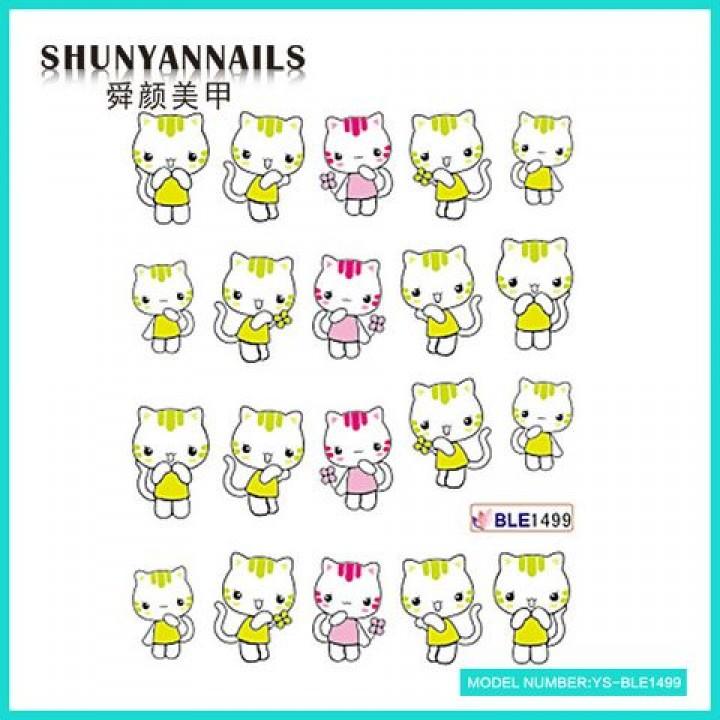 Слайдер дизайн для ногтей, Водные Наклейки Котята, котенок
