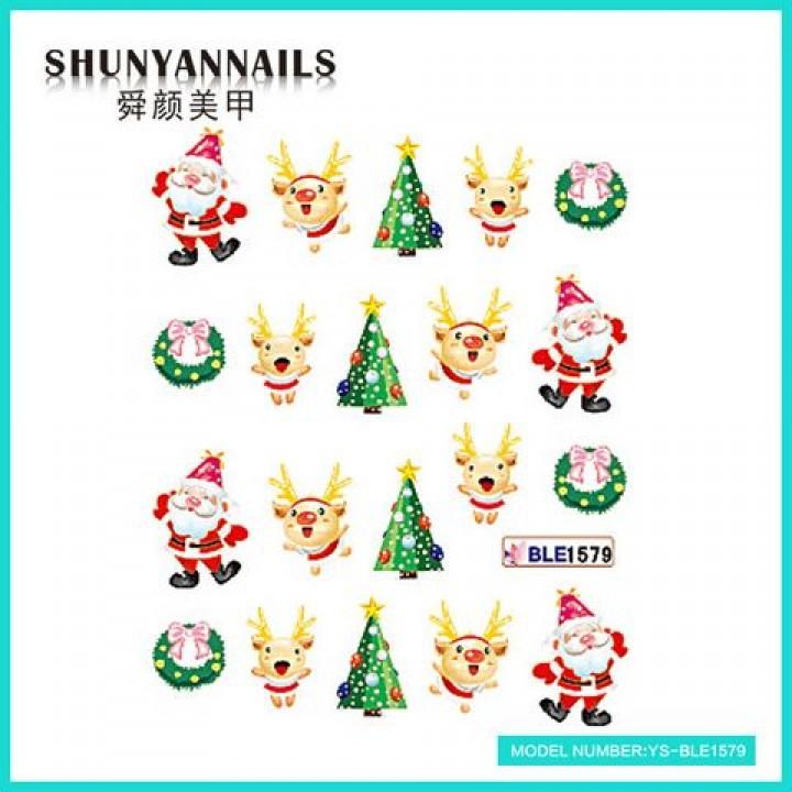 Слайдер дизайн для ногтей, Водные Наклейки Новогодние, Санта Клаус, Дед мороз, елочка, олень