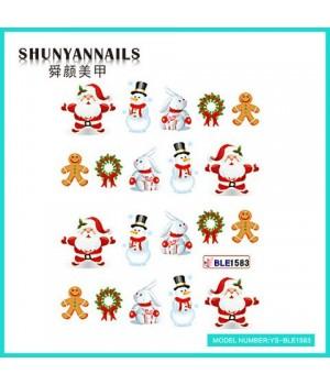 Водные Наклейки, Слайдер дизайн для ногтей Новогодние, Санта Клаус, Дед мороз, зайчик, снеговик, пряник