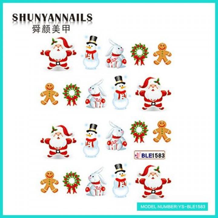 Слайдер дизайн для ногтей, Водные Наклейки Новогодние, Санта Клаус, Дед мороз, зайчик, снеговик, пряник