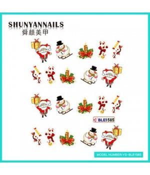 Водные Наклейки, Слайдер дизайн для ногтей Новогодние, Санта Клаус, Дед мороз, снеговик, конфеты