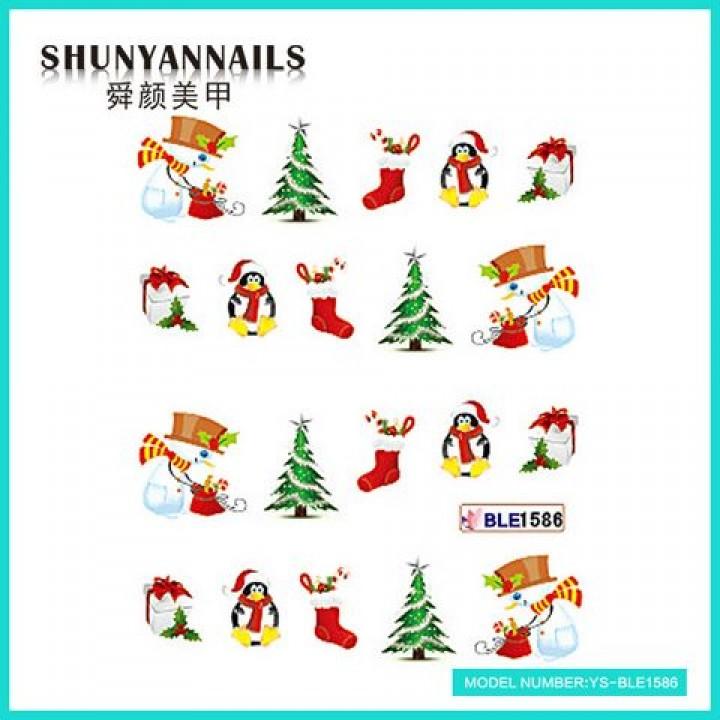 Слайдер дизайн для ногтей, Водные Наклейки Новогодние, снеговик, пингвин, елка, подарок