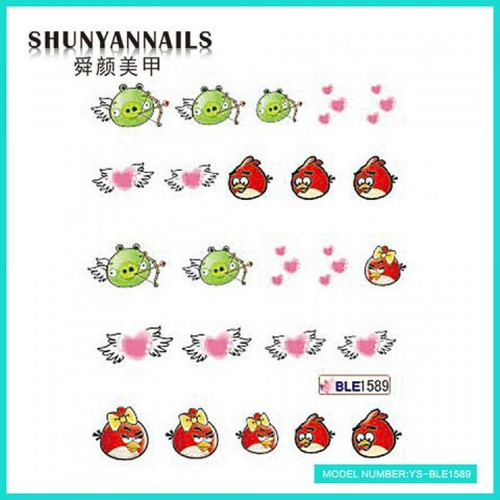 Слайдер дизайн для ногтей, Водные Наклейки Птицы, Angry Birds, сердечки