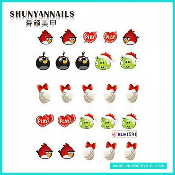 Слайдер дизайн для ногтей, Водные Наклейки Птицы, Angry Birds, сердечки, бантики