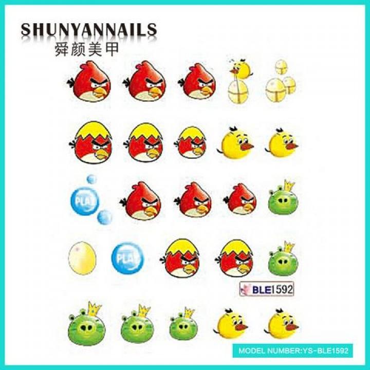 Слайдер дизайн для ногтей, Водные Наклейки Птицы, Angry Birds, яйцо, шарики