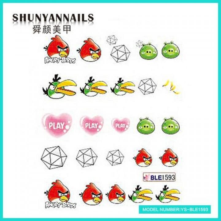 Слайдер дизайн для ногтей, Водные Наклейки Сердечки, Angry Birds