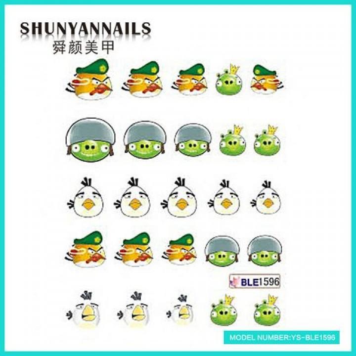 Слайдер дизайн для ногтей, Водные Наклейки Мультики, Angry Birds