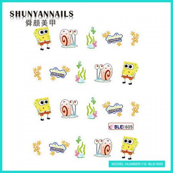 Слайдер дизайн для ногтей, Водные Наклейки Мультяшки, Губка Боб, Sponge Bob