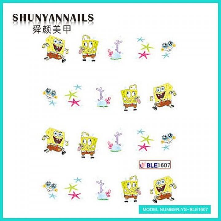 Слайдер дизайн для ногтей, Водные Наклейки Мультяшки, Губка Боб, Sponge Bob, звездочки