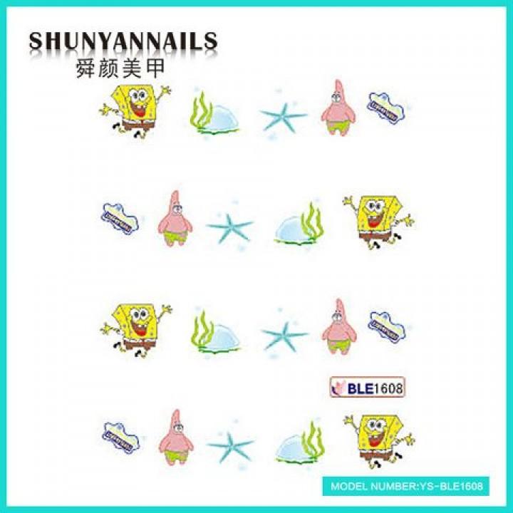 Слайдер дизайн для ногтей, Водные Наклейки Мультяшки, Губка Боб, Sponge Bob, звезда