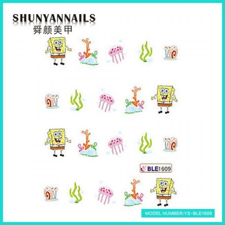 Слайдер дизайн для ногтей, Водные Наклейки Губка Боб, Sponge Bob, мультяшки