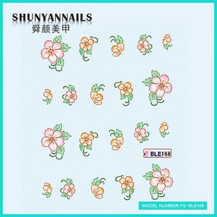 Слайдер дизайн для ногтей, Водные Наклейки Оранжевые цветы, розовые цветы