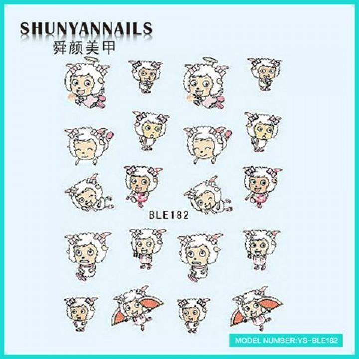 Слайдер дизайн для ногтей, Водные Наклейки Мультяшки, овечка
