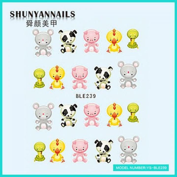 Слайдер дизайн для ногтей, Водные Наклейки Животные, мышка,собачка, поросенок, цыпленок
