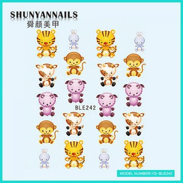 Слайдер дизайн для ногтей, Водные Наклейки Животные, тигр, обезьяна, овечка