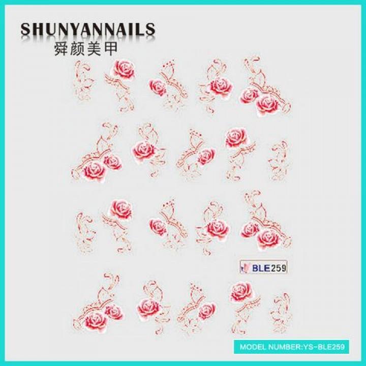 Слайдер дизайн для ногтей, Водные Наклейки Цветы, красная роза