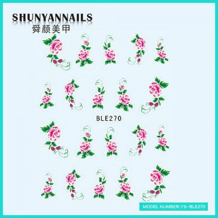 Слайдер дизайн для ногтей, Водные Наклейки Цветы, малиновые розы