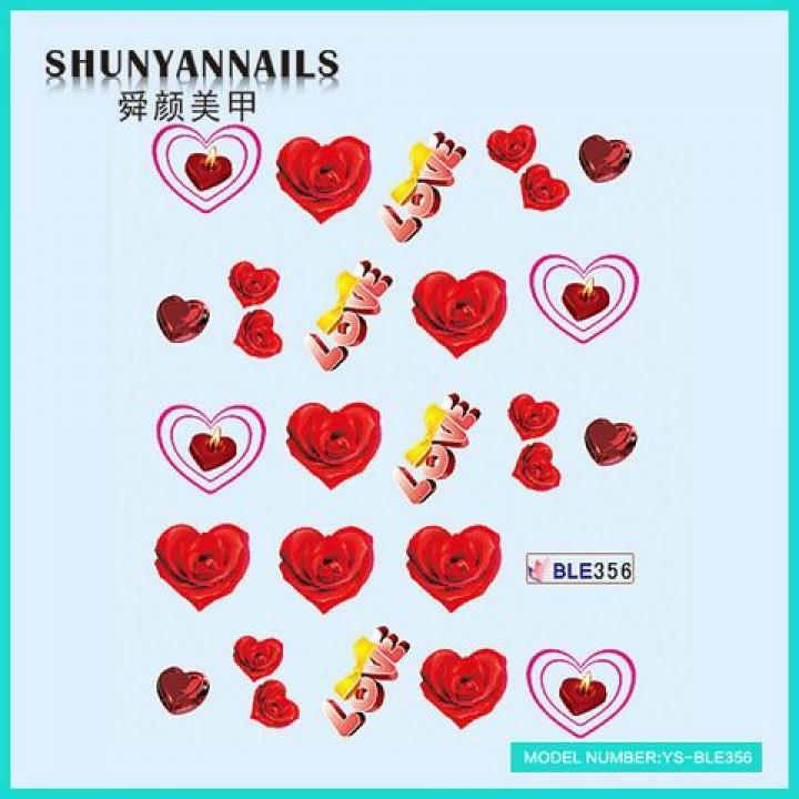 Слайдер дизайн для ногтей, Водные Наклейки Цветы, красные розы, сердце